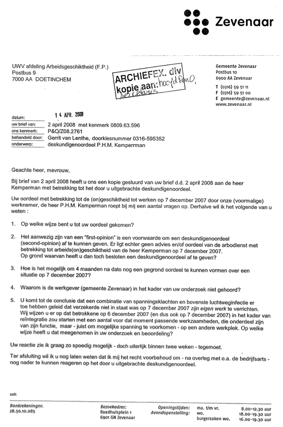 voorbeeldbrief bonus 81: Ziekmelding | Intimidatie, psychische terreur en andere  voorbeeldbrief bonus