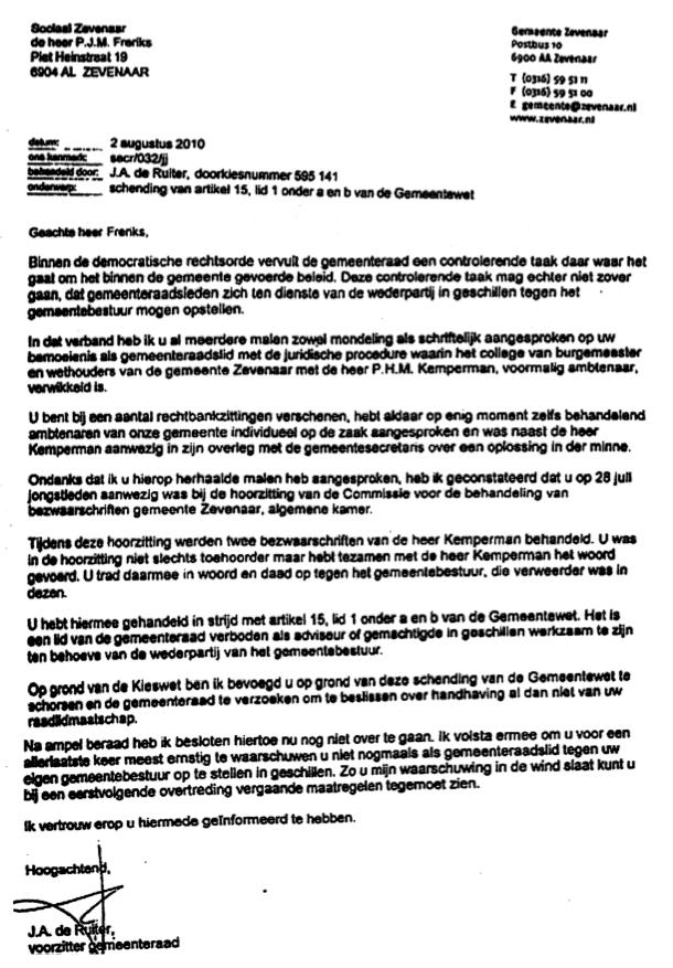 85 brief de ruiter hoe werkt de overheid goed functionerende ambtenaren de deur uit - Hoe een stuk scheiden ...