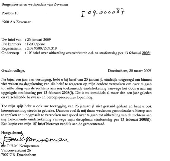 Geen reactie op deze en volgende brieven