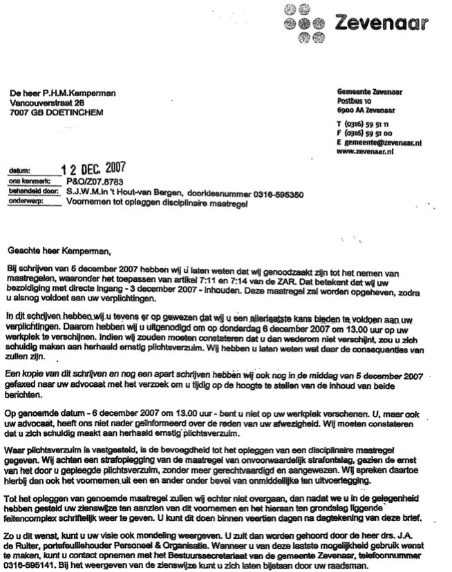 Sinterklaasavond ontslagbrief gemeente Zevenaar. | Intimidatie