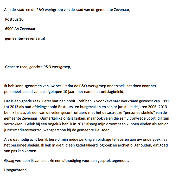 voorbeeld ontslagbrief ambtenaar In 2013 weggepest afdelingshoofd is bereid mee te werken aan P&O  voorbeeld ontslagbrief ambtenaar